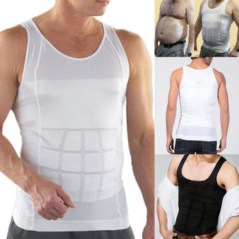 Men Shapers Summer Solid Sleeveless Firm Tummy Belly Buster Vest Control Slimming Body Shaper Underwear Shirt 1
