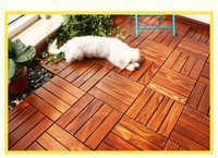 In Legno massello di Splicing Pavimento di Piastrelle Balcone splicing pavimenti in legno massello, Impermeabile Non-slip carbonizzato in legno pavimenti in piastrelle