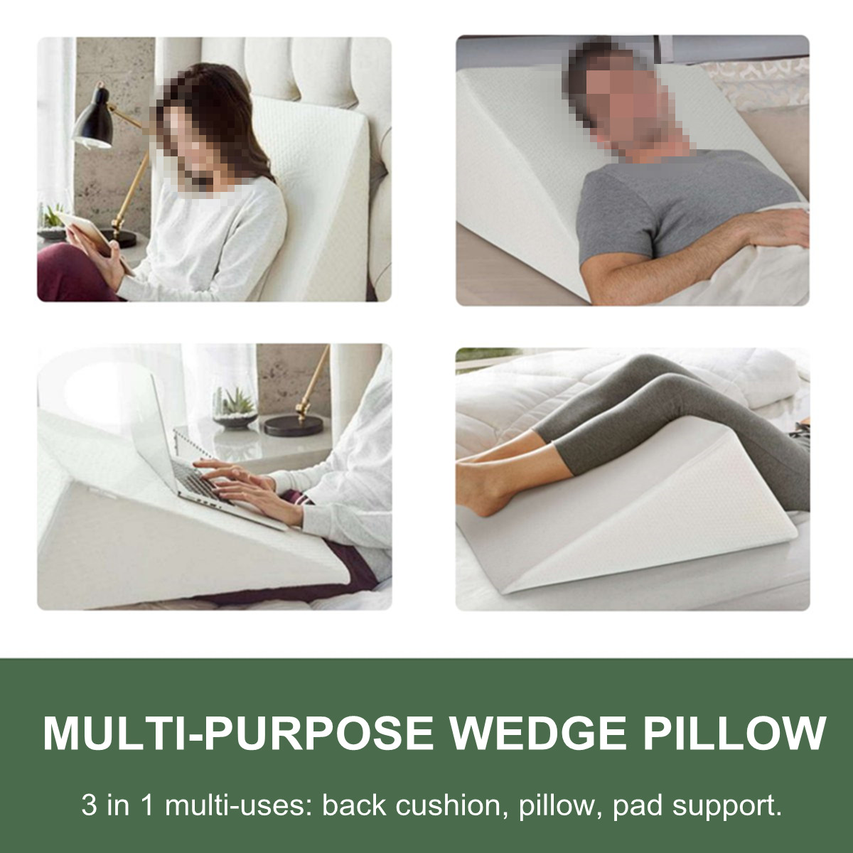 Triangle Bedding Wedge Pillow Cotton Sponge Cushion Multifunctional Neck Back Body Support Cushion Pad Home Hospital