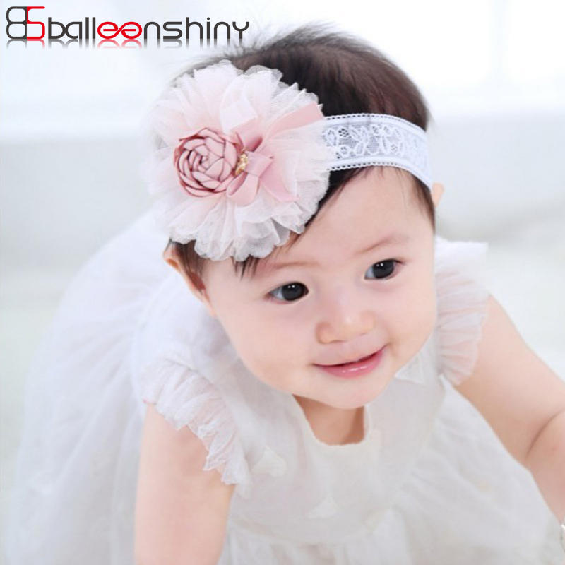 BalleenShiny Lace Flower Baby Girls Headband Fashion Cute Elastic Newborn Hair Band Child Kids Hair Accessories   Headwear   Gift