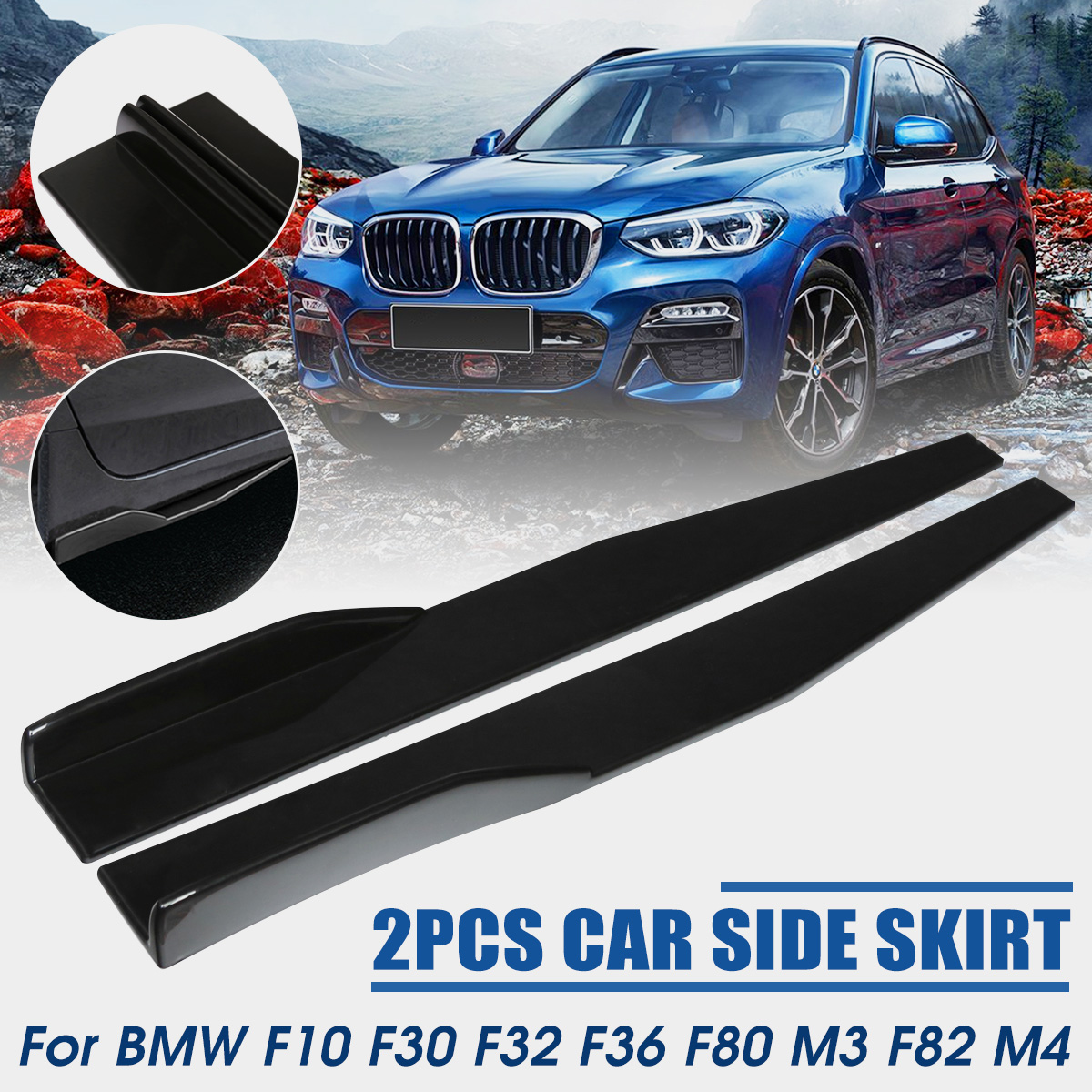 2pcs 74.5cm Universal Car Side Skirt Rocker Splitter Winglet Side Wing Bumper Lip Bumper Black/Red/Carbon Fiber Look Side Skirts