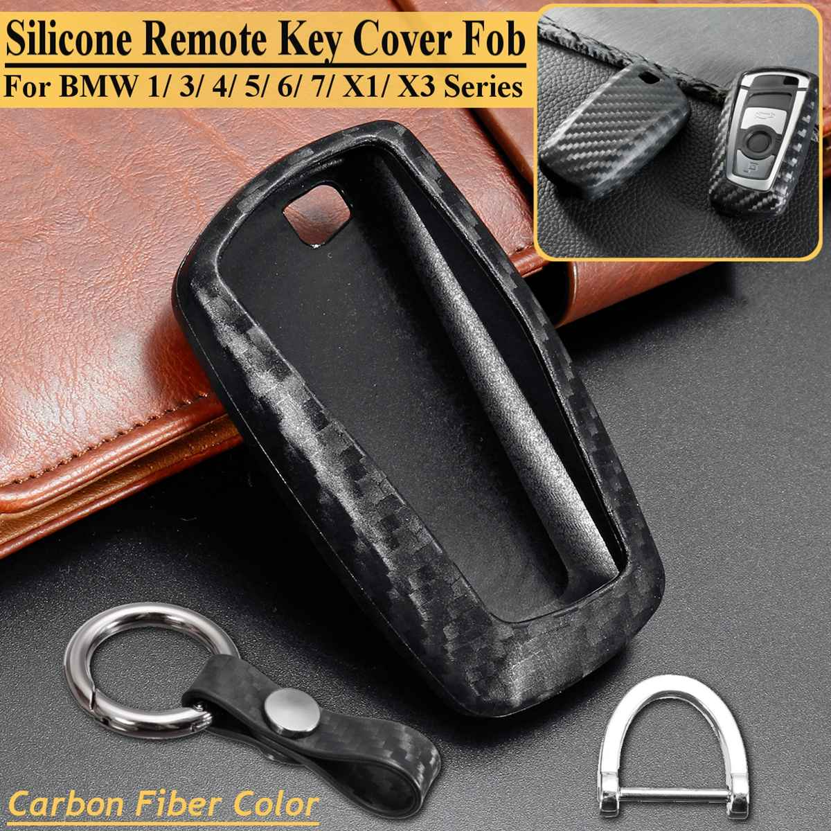 1 Pcs Car Auto Carbon Silicone Key Shell Cover Case For Bmw F05 F10 F20 F30 Z4 X1 X4 X5 X6 X7 1 3 5 Series Accessories Styling To Win A High Admiration