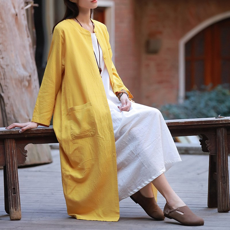 2019 New Women Casual Style Cotton Linen Long   Trench   Spring Summer Long Sleeve Pocket Solid Linen   Trench   Coats