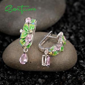 Image 5 - SANTUZZA pendientes de plata de ley 925 con hojas verdes, joyería hecha a mano con esmalte