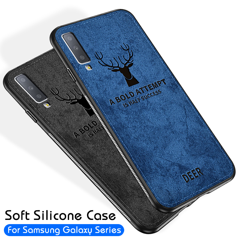 Luxury Cloth Deer Airbag Cases For Samsung Galaxy S10E S10 S8 S9 Plus J5 J3 J7 2017 A6 Plus J4 J6 A7 2018 Note 9 8 Cover Coque