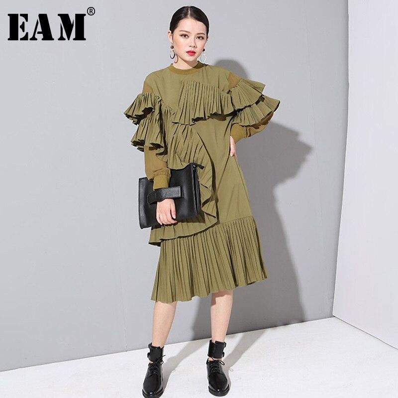[EAM] 2019 Neue Frühling Sommer Rundhals Langarm Armee Grün Chiffon Gefaltete Stich Lose Kleid Frauen Mode flut JO282