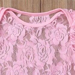 Emmababy Розовое Кружевное боди для новорожденных девочек, однотонное хлопковое вечерние левое вечернее платье принцессы с цветами, боди, одеж...