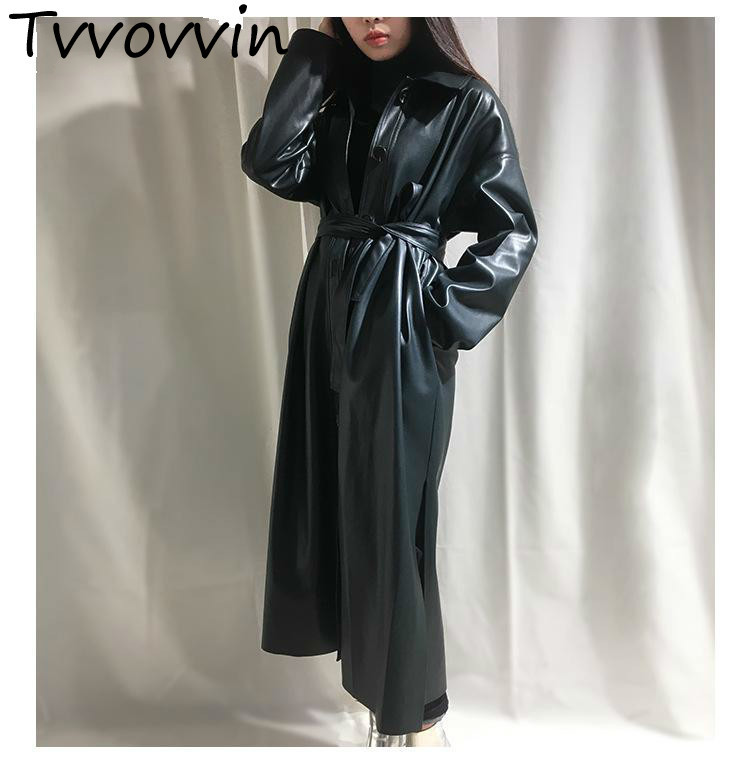 TVVOVVIN Womens   Trench   Coats Pu Leather Windbreaker Single Breasted Lace Up Sleeve Long Solid Split Coat Autumn Winter E291