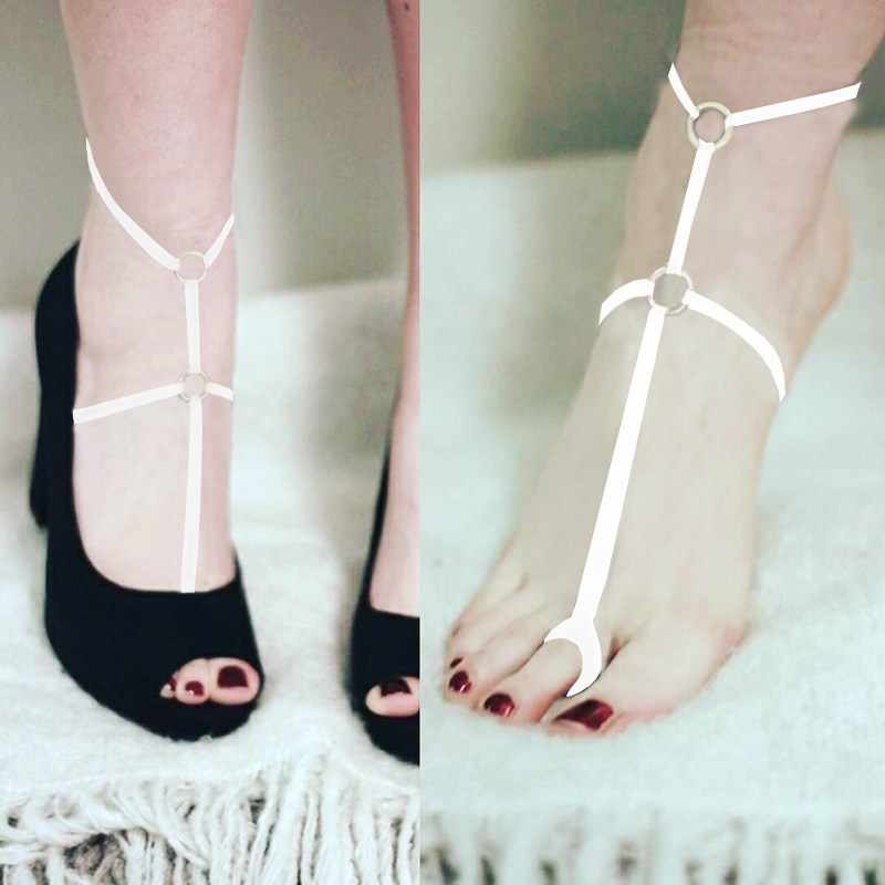Sexy Delle Donne di Alta Tallone Del Piede Decorazione Della Fasciatura Causale Multi Colori Del Piede Del Piede Cintura Pezzo a Piedi Nudi Sandalo Scarpa Fetish Cage Harness