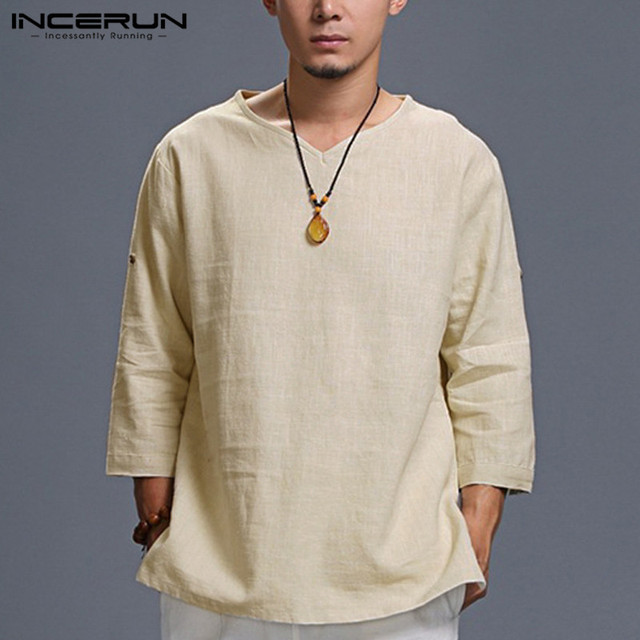 INCERUN Chinese Style Mens Shirts Long Sleeve Folded V Neck Plain Tee Shirt Loose Fit Cotton Tops Man Camisas Masculina Clothing