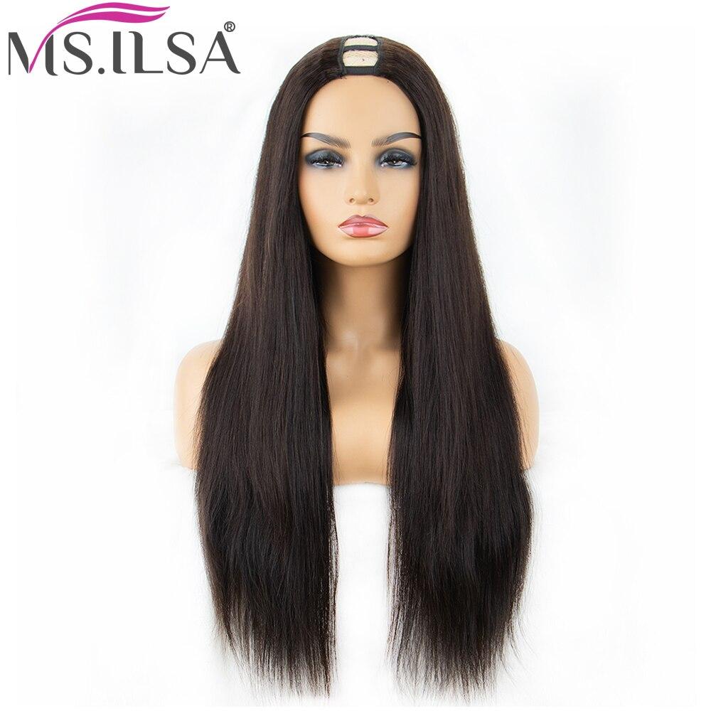 250% Density Straight U Part Wigs Human Hair Wigs For Black Women Middle Part Brazilian Remy Hair Wigs Full End MS. ILSA