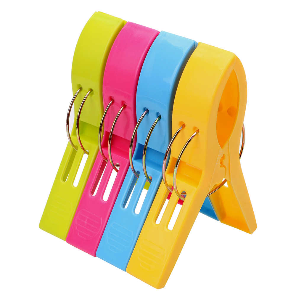 4 Pcs Plastic Color Clothes Pegs Beach Towel Clamp Laundry Clothes Pins Large Size Drying Racks Retaining Clip Organization