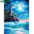 AZQSD Ölgemälde Leuchtturm Landschaft Malerei Durch Zahlen Nacht Meer Farbe Leinwand Bild DIY Landschaft Hand Gemalt Moderne K486|Malen nach Zahlen|Heim und Garten -