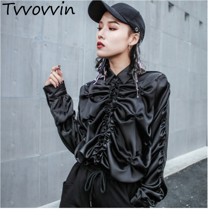 TVVOVVIN 2019 Spring New Hip Hop Trend Blouse Pleated Straight Long Sleeves Turn Down Collar Women's Black Shirt E360