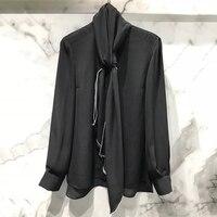 Черная шелковая блузка для женщин 2019 модная Осенняя Офисная женская Свободная блузка с круглым вырезом Высококачественная женская шифонов
