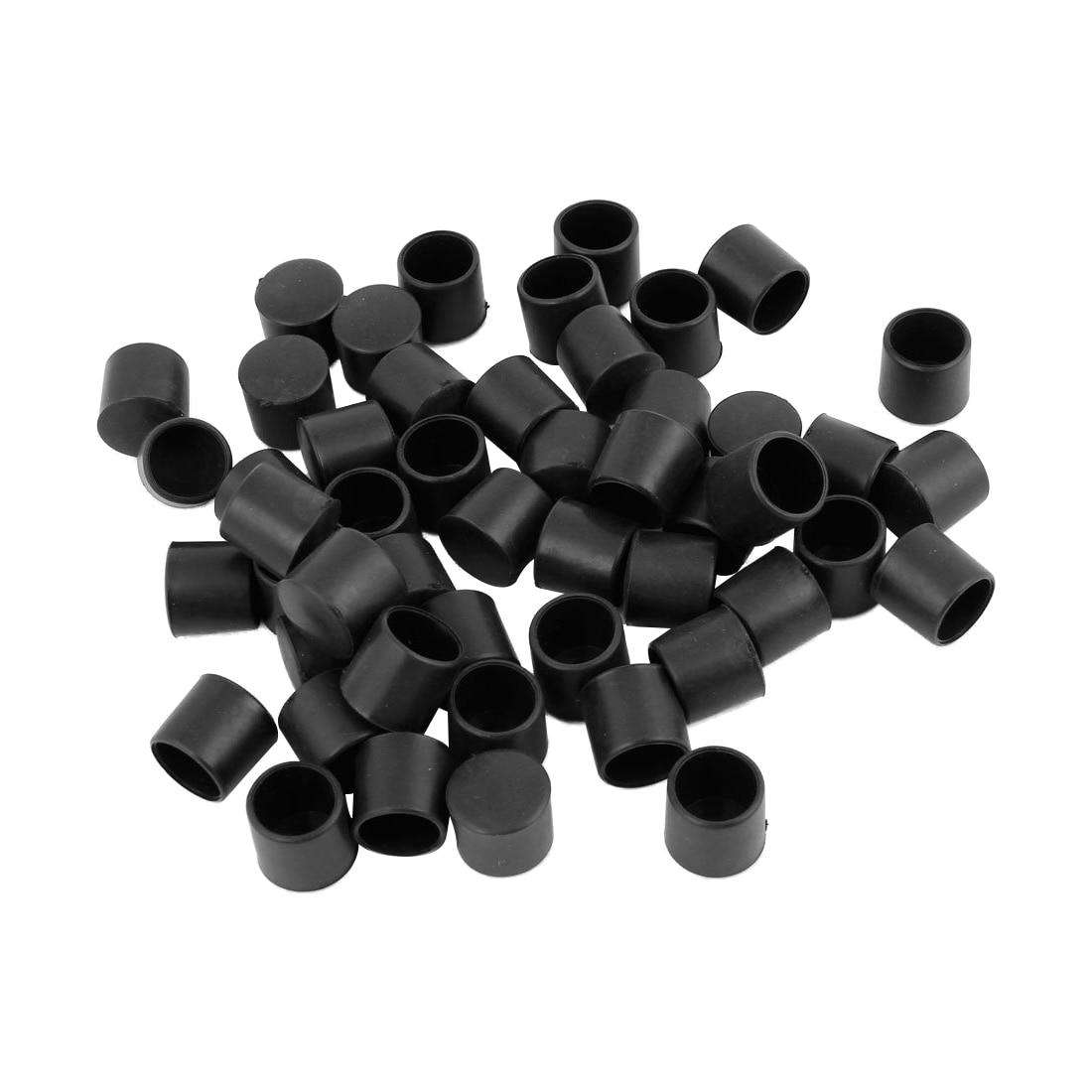 50 Pcs Black Rubber PVC Flexible Round End Cap Round 12mm Foot Cover