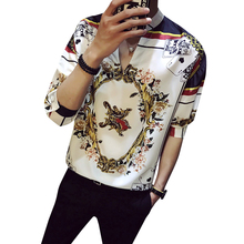 NSTOPOS Spring Flowers Shirts Fancy Floral Printed Mens Loose Social Club