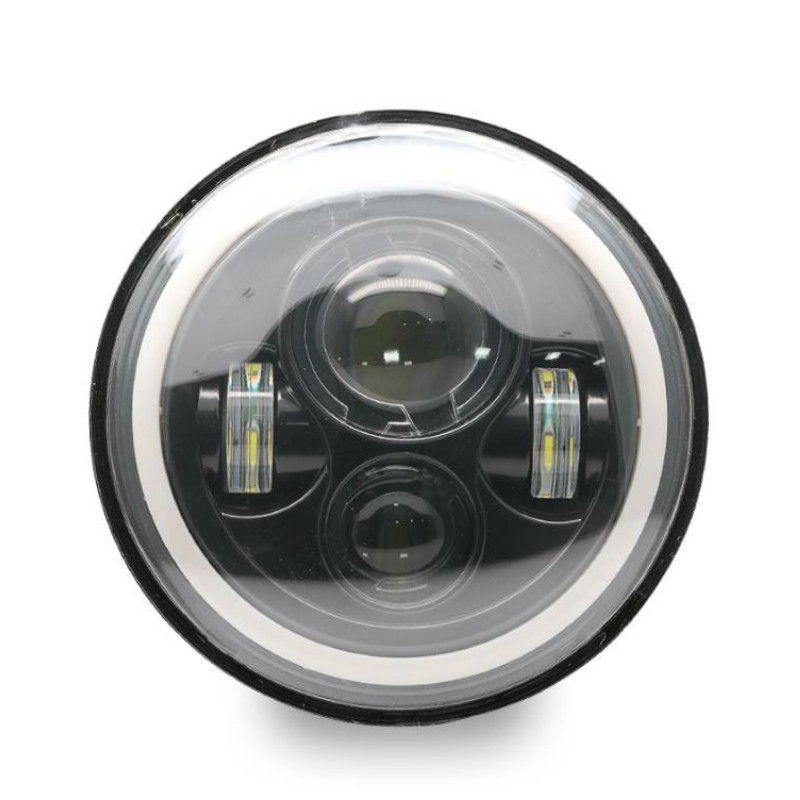 40W 7 Inch Round LED Headlight High Low Beam Lights Halo Angel Eyes DRL Headlamp for Jeep Wrangler Off Road Car Motorcycle Light