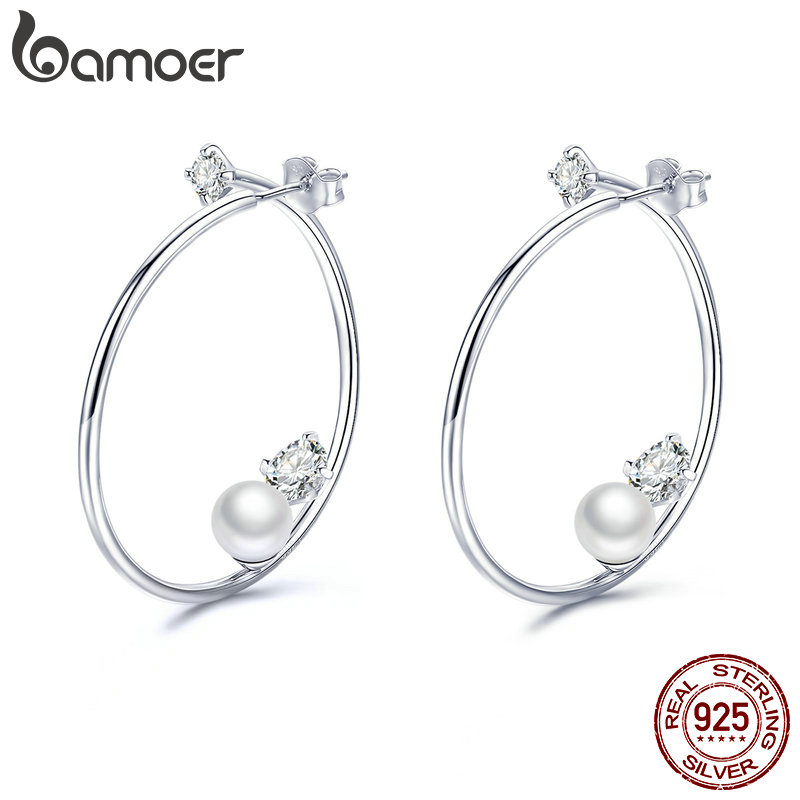 BAMOER Ear Hoops Women Korea Pearl Hoop Earrings 925 Sterling Silver Jewelry Wedding Statement Promise Jewellery BSE074