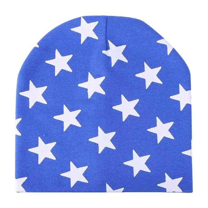 Gorros de punto de dibujos animados para niños con estampado de estrellas para bebé
