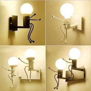 Moderne Cartoon Puppe Wand Licht Led Kreative Montiert Eisen Leuchte Wohnzimmer Kinderzimmer Weiss Wand Lampen