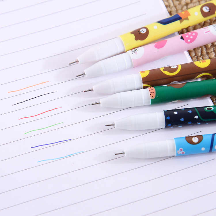 1 pièces Promotion mignon dessin animé couleur Gel stylo créatif 6 couleur ensemble stylo étudiants écriture bureau stylo
