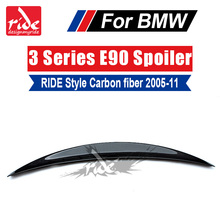 цена на For BMW E90 E91 3-Series 323i 325i 328i 330i 335i 335xi RIDE Style High-quality Carbon Fiber Rear Trunk Spoiler Wing Lip 2005-11