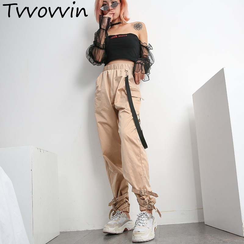 Khaki Casual Cargo   Pants     Capris   Women Elastic High Waist Joggers Buttons pocket Fashion Hip Hop Long street Trousers bottomsC438