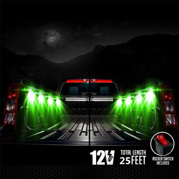 LED RGB Truck Bed Rear Light Kit-Sound Activated Wireless Remote Multi-color Work Glow Neon Rock Lighting (8 Pods)