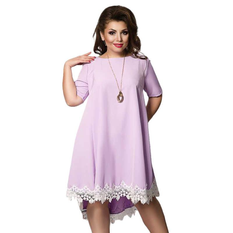 Joineles размера плюс, однотонное летнее женское платье, круглый вырез, половина рукава, больше размера d, Повседневное платье, кружевные подол, вечерние платья, Vestidos, 5xl, 6xl