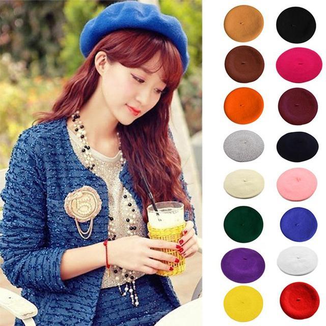 Color sólido de las mujeres chica boina artista francés lana invierno gorra sombrero