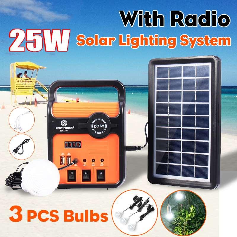 Solar Generator System Solar Power Panel Generator Kit mit Led Licht MP3 Radio Im Freien Notfall Beleuchtung Mobile Power Su-in Solarlampen aus Licht & Beleuchtung bei