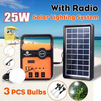 Solar Generator System Solar Power Panel Generator Kit with Led Light MP3 Radio Outdoor Emergency Lighting Mobile Power Su