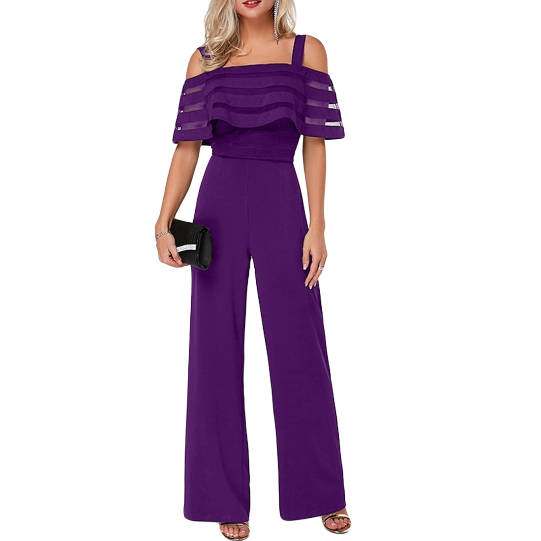 Sexy Women Jumpsuit Off Shoulder Plus Size Summer Romper Wide Leg Trousers Womens Casual Clubwear Outfits Blue OL Mesh Overalls