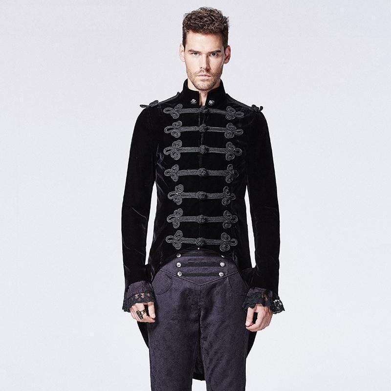 Punk Rave hommes victorien gothique hirondelle queue manteau noir Y-593