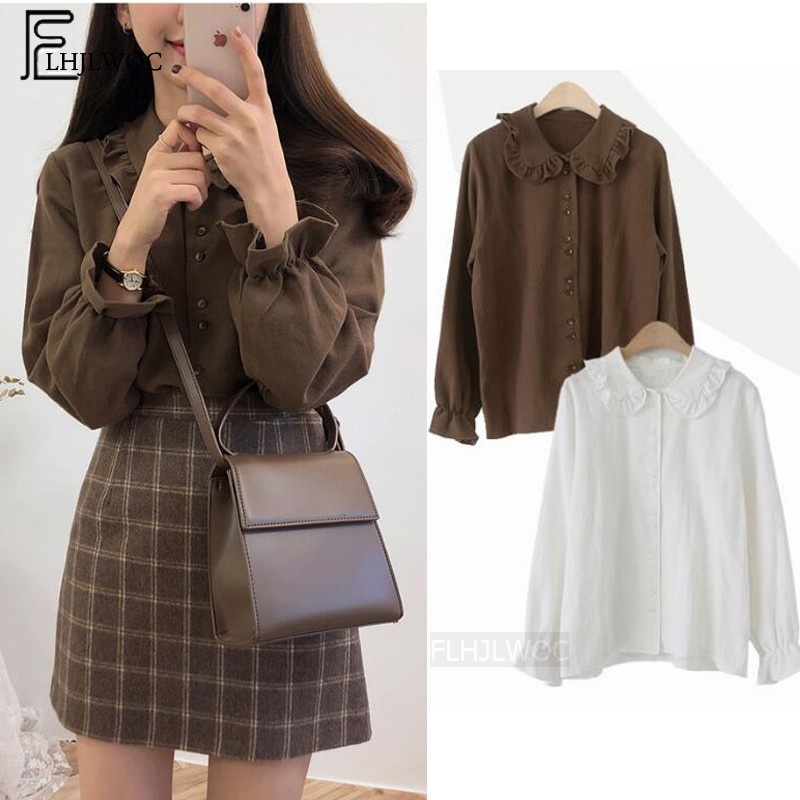 Basic   Shirts     Blouses   Hot Sales 2019 Women Fashion Design Korean Preppy Style Flare Sleeve Peter Pan Collar White Button   Shirt