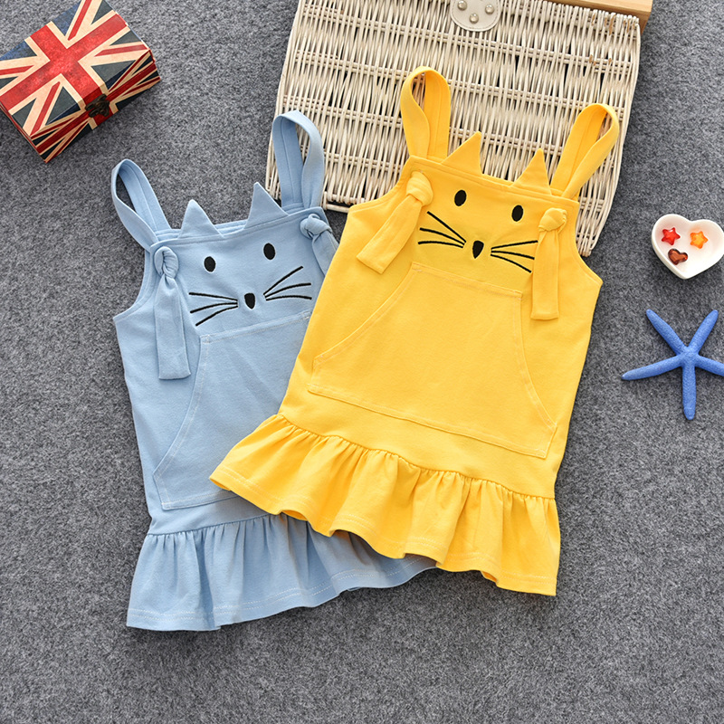 Toddler Dress Kids Clothing Autumn Fashion Girl Cotton Cartoon for Spring Children Cat