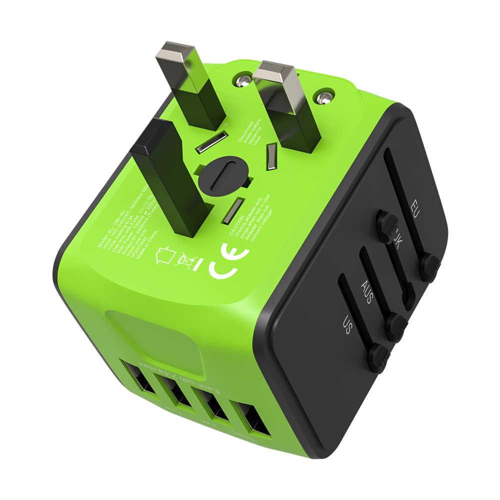 Международный адаптер для путешествий по всему миру все в одном 4 USB с электрической вилкой для европейских США, ЕС, Великобритания, AU