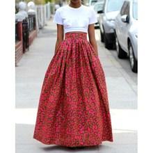 Women African Dashiki Spring Summer Maxi Beach Skirt Floral Print High Waist Pleated Long Skirts