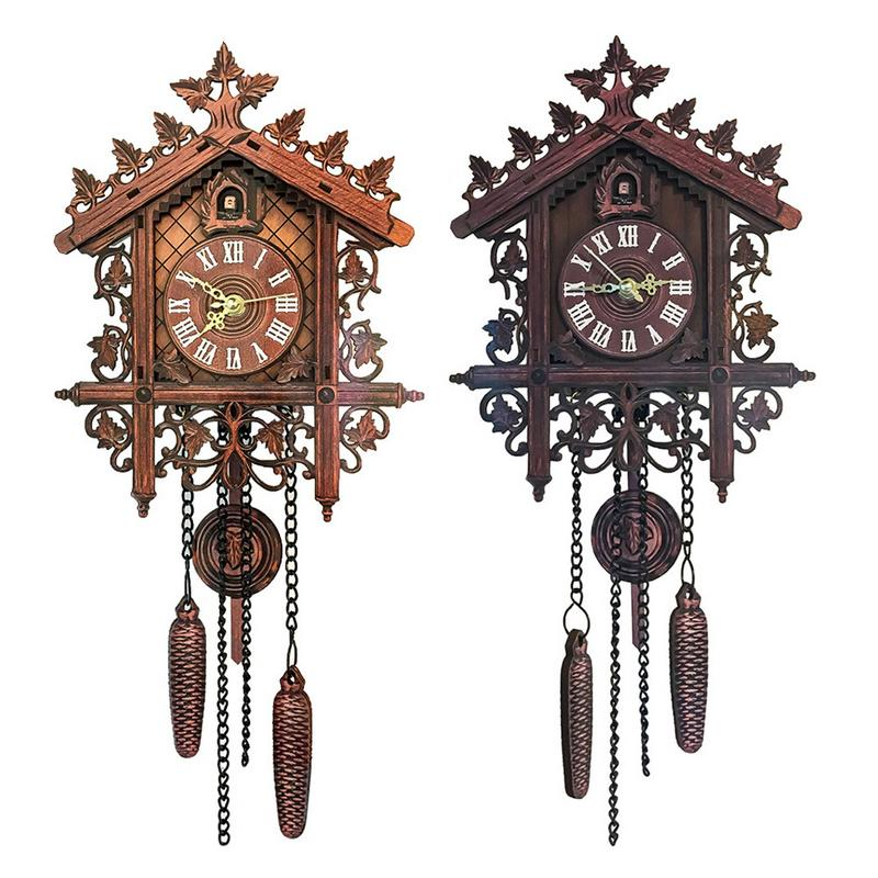 Retro Wall Clock Cuckoo Shape Clock Home Decoration Hanging Clock Living Room Wall Decor Antique Watch