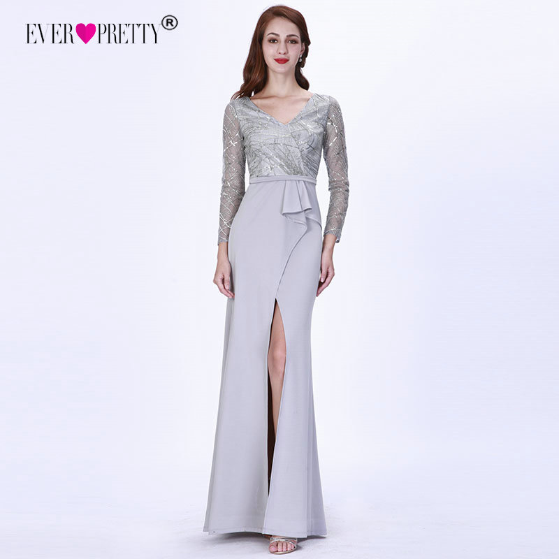 Image 3 - Evening Dresses Long 2018 Ever Pretty EZ07698 Elegant Grey Long Sleeve Lace Satin Mermaid Winter Sparkle Formal Party Gowns-in Evening Dresses from Weddings & Events