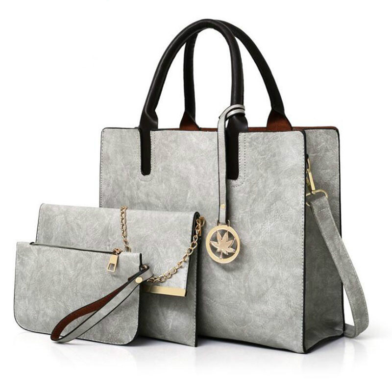 WANGKA Women Bags Set 3Pcs Leather Handbag Women Large Tote Bags Ladies Shoulder Bag Handbag+Messenger Bag+Purse Sac a Main