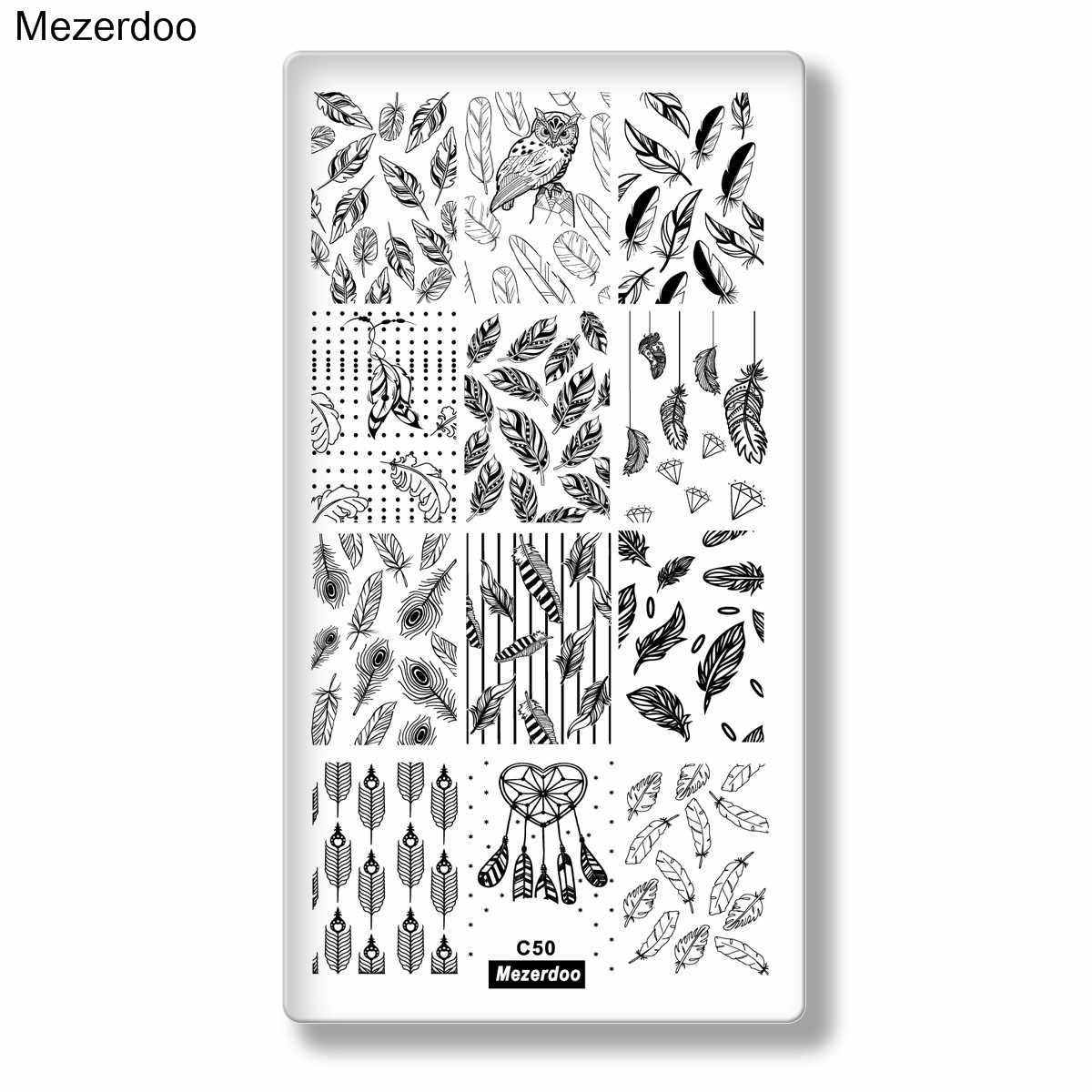 Feather เล็บแม่แบบ Nail Art Stamping Plate นกหางลูกศรเล็บพิมพ์แม่แบบนกฮูกสัตว์ภาพสำหรับเล็บความงาม