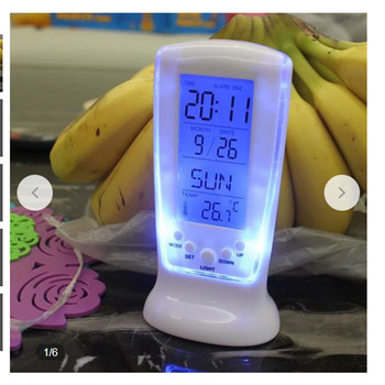 Creative Digital Blue Luminous LED Night Light Alarm Clock Music Temperature Display Calendar Desktop Clock Snooze Function