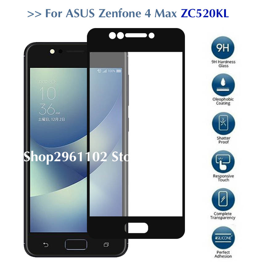 full cover For Zenfone 4 Max Glass protector for Zenfone 4 Max ZC520KL Tempered glass case 4max <font><b>zc520</b></font> <font><b>kl</b></font> zc 520kl protect film image