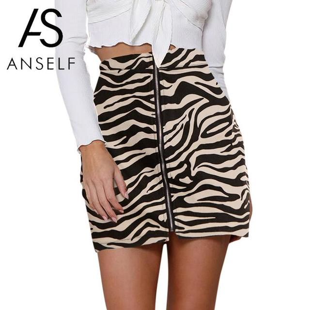 ed7469a9a75e Fashion Women Mini Skirt Leopard Zebra Print Zip-up Slit Front Slim Bodycon  Sexy Straight Short Skirt Back / Coffee / Brown