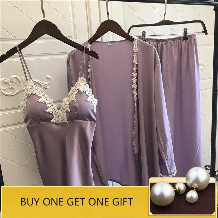 Satin Pyjamas Women 3Pieces   Pajamas   for Women 2019 Pijama Elegant Sleepwear Female Sexy Lace At All Seasons Silk   Pajamas     Set
