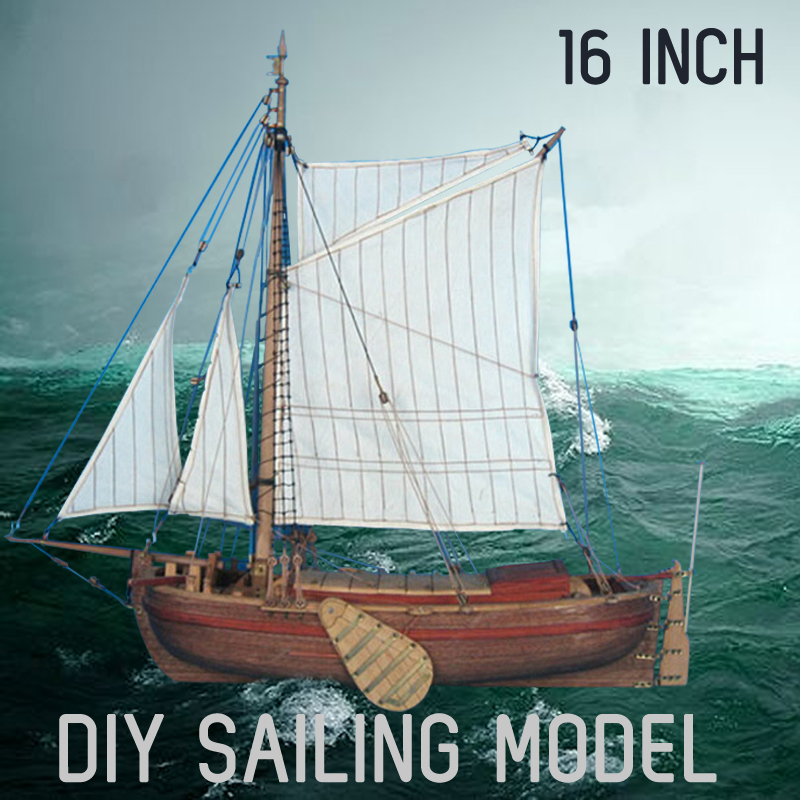 45cm Holland Qingzhou Sail Boat Wooden Sailing Model Building Sailboat DIY Kits Classic 16 Inch Toys Home Decoration Gift