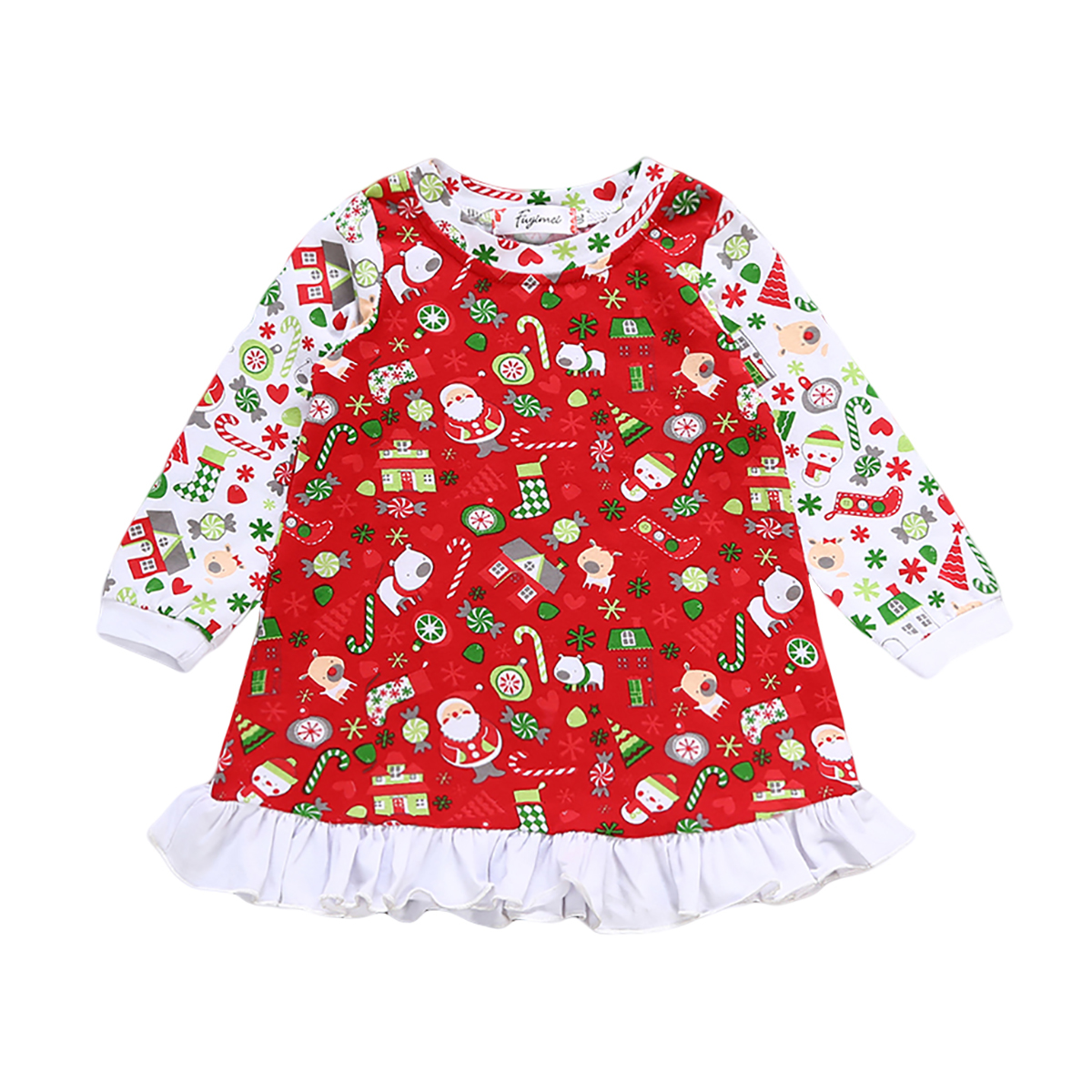 Kid Infant Baby Girl Christmas Gift Printing Long Sleeve Dress Party Dress Clothes Size 0-24M