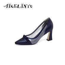 AIKELINYU 2019 Sexy Pointed Toe Quality Handmade Pumps Woman Transparent Sequins Shoes Square High Heel Elegant Lady Office Pump